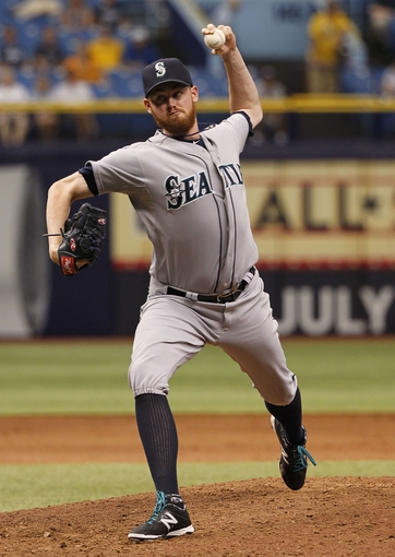 Jun 8, 2014; St. Petersburg, FL, USA; Seattle Mariners relief pitcher Charlie Furbush (41) throws a pitch during the ninth inning against the Tampa Bay Rays at Tropicana Field. The Mariners won 5-0. Mandatory Credit: Kim Klement-USA TODAY Sports