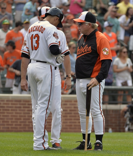 Jun 8, 2014; Baltimore, MD, USA; Baltimore Orioles manager Buck Showalter (26) talks to Manny Machado (13) after Machado was ejected in the eighth inning against the Oakland Athletics at Oriole Park at Camden Yards. The Athletics won 11-1. Mandatory Credit: Joy R. Absalon-USA TODAY Sports