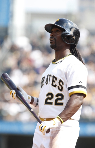 Jun 8, 2014; Pittsburgh, PA, USA; Pittsburgh Pirates center fielder Andrew McCutchen (22) reacts while at bat against the Milwaukee Brewers during the eighth inning at PNC Park. The Brewers won 1-0. Mandatory Credit: Charles LeClaire-USA TODAY Sports