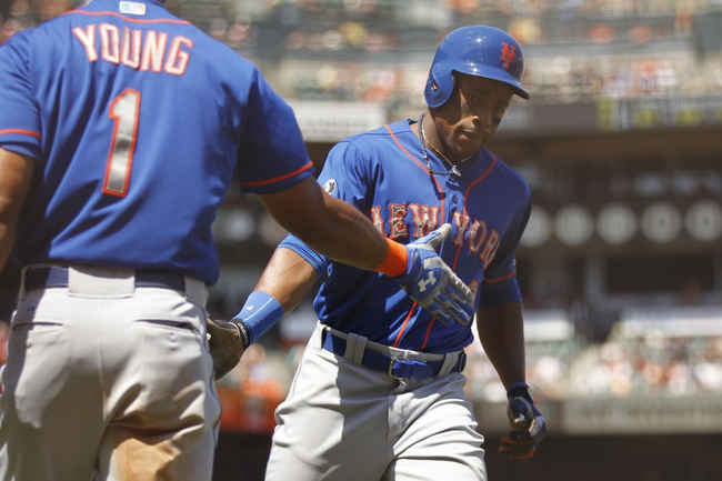 Jun 8, 2014; San Francisco, CA, USA; New York Mets outfielder Curtis Granderson (3) jogs towards jogs towards the dugout after hitting a home run against the San Francisco Giants in the sixth inning at AT&T Park. Mandatory Credit: Cary Edmondson-USA TODAY Sports