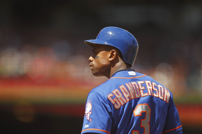 Jun 8, 2014; San Francisco, CA, USA; New York Mets outfielder Curtis Granderson (3) stands in the batters box against the San Francisco Giants in the sixth inning at AT&T Park. Mandatory Credit: Cary Edmondson-USA TODAY Sports