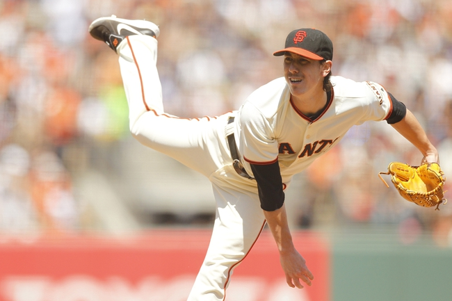Jun 8, 2014; San Francisco, CA, USA; San Francisco Giants pitcher Tim Lincecum (55) follows through on a pitch against the New York Mets in the fifth inning at AT&T Park. Mandatory Credit: Cary Edmondson-USA TODAY Sports