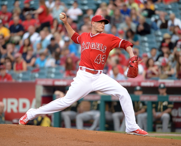 Jun 9, 2014; Anaheim, CA, USA; Los Angeles Angels reliever Garrett Richards (43) delivers a pitch against the Oakland Athletics at Angel Stadium of Anaheim. Mandatory Credit: Kirby Lee-USA TODAY Sports