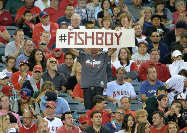 Jun 9, 2014; Anaheim, CA, USA; A fan of Los Angeles Angels center fielder Mike Trout (not pictured) holds a sign that reads #FISHBOY in the third inning against the Oakland Athletics at Angel Stadium of Anaheim. Mandatory Credit: Kirby Lee-USA TODAY Sports