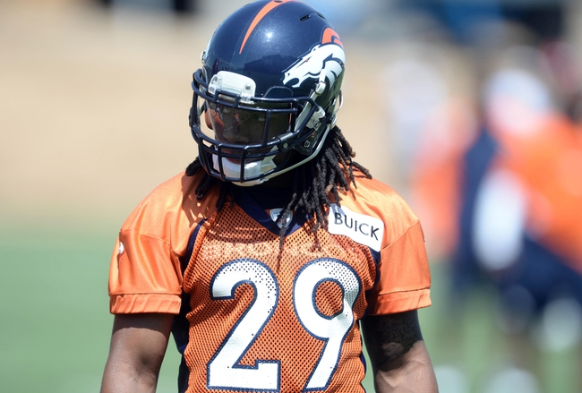Jun 10, 2014; Denver, CO, USA; Denver Broncos cornerback Bradley Roby (29) warms up during mini camp drills at the Broncos practice facility. Mandatory Credit: Ron Chenoy-USA TODAY Sports