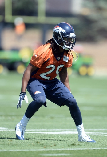 Jun 10, 2014; Denver, CO, USA; Denver Broncos cornerback Bradley Roby (29) runs a play during mini camp drills at the Broncos practice facility. Mandatory Credit: Ron Chenoy-USA TODAY Sports