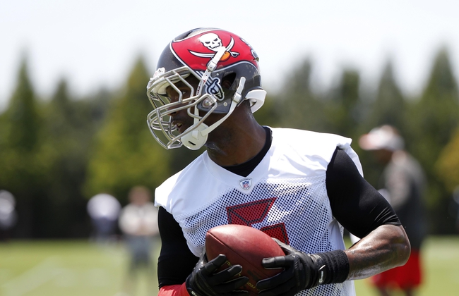 Jun 10, 2014; Tampa Bay, FL, USA;  Tampa Bay Buccaneers wide receiver David Gettis (6) works out during mini camp at One Buccaneer Place. Mandatory Credit: Kim Klement-USA TODAY Sports