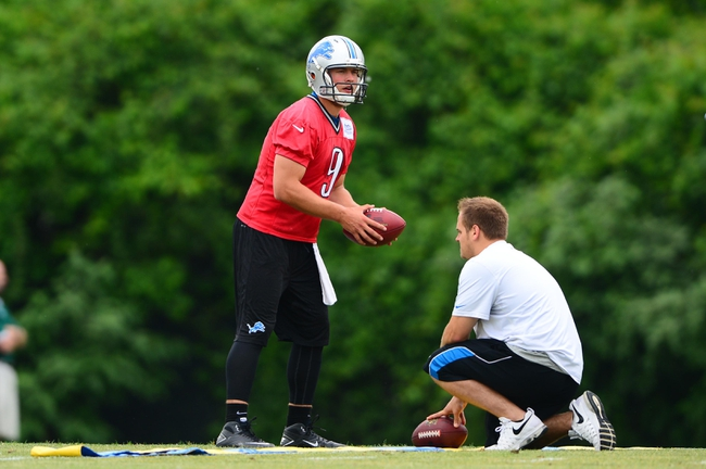 Jun 10, 2014; Detroit, MI, USA; Detroit Lions quarterback Matthew Stafford (9) during mini camp at Detroit Lions training facility. Mandatory Credit: Andrew Weber-USA TODAY Sports