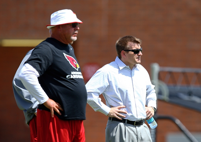 Jun 10, 2014; Tempe, AZ, USA; Arizona Cardinals head coach Bruce Arians (left) and president Michael Bidwill on the sidelines during mini camp at the teams Tempe training facility. Mandatory Credit: Mark J. Rebilas-USA TODAY Sports