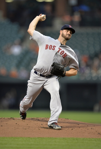 Jun 10, 2014; Baltimore, MD, USA; Boston Red Sox starting pitcher Brandon Workman (67) throws in the first inning against the Baltimore Orioles at Oriole Park at Camden Yards. Mandatory Credit: Joy R. Absalon-USA TODAY Sports