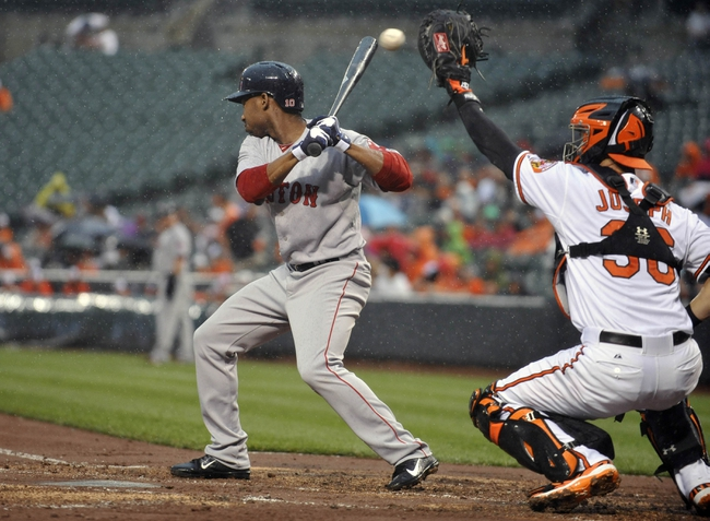 Jun 10, 2014; Baltimore, MD, USA; Boston Red Sox shortstop Jonathan Herrera (10) is brushed back by a pitch during the rain in the second inning against the Baltimore Orioles at Oriole Park at Camden Yards. Mandatory Credit: Joy R. Absalon-USA TODAY Sports