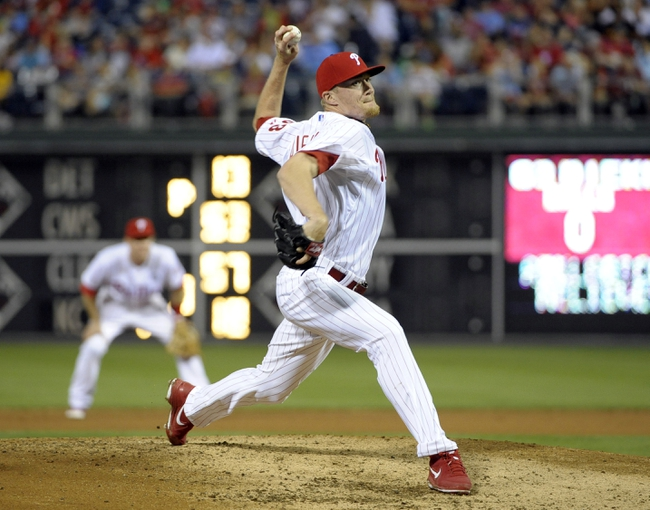 Jun 10, 2014; Philadelphia, PA, USA; Philadelphia Phillies relief pitcher Jacob Diekman (63) throws a pitch against the San Diego Padres at Citizens Bank Park. Phillies defeated the Padres, 5-2. Mandatory Credit: Eric Hartline-USA TODAY Sports