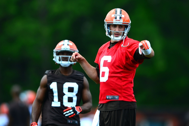 Jun 12, 2014; Berea, OH, USA; Cleveland Browns quarterback Brian Hoyer (6) during minicamp at Browns training facility. Mandatory Credit: Andrew Weber-USA TODAY Sports