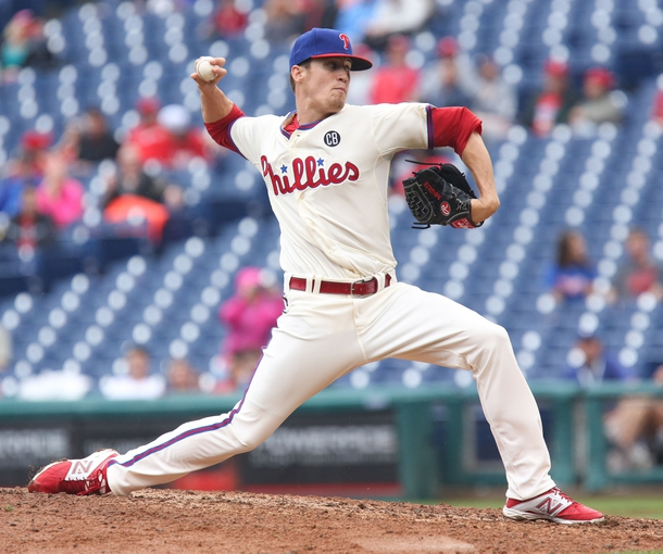 Jun 12, 2014; Philadelphia, PA, USA; Philadelphia Phillies relief pitcher Ken Giles (53) throws his first pitch in the major leagues during the ninth inning of a game against the San Diego Padres at Citizens Bank Park. The Phillies won 7-3. Mandatory Credit: Bill Streicher-USA TODAY Sports