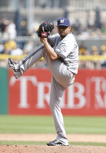 Jun 8, 2014; Pittsburgh, PA, USA; Milwaukee Brewers relief pitcher Francisco Rodriguez (57) pitches against the Pittsburgh Pirates during the eighth inning at PNC Park. The Brewers won 1-0. Mandatory Credit: Charles LeClaire-USA TODAY Sports