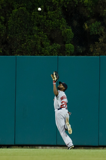 Jun 7, 2014; Detroit, MI, USA; Boston Red Sox center fielder Jackie Bradley Jr. (25) makes a catch of a ball hit by Detroit Tigers designated hitter Victor Martinez (not pictured) in the eighth inning at Comerica Park. Mandatory Credit: Rick Osentoski-USA TODAY Sports
