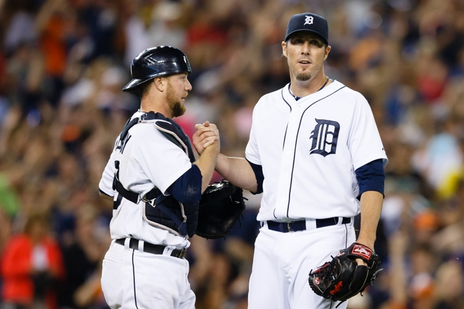 Jun 7, 2014; Detroit, MI, USA; Detroit Tigers catcher Bryan Holaday (50) and relief pitcher Joe Nathan (36) celebrate after the game against the Boston Red Sox at Comerica Park. Mandatory Credit: Rick Osentoski-USA TODAY Sports