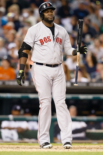 Jun 7, 2014; Detroit, MI, USA; Boston Red Sox designated hitter David Ortiz (34) reacts at bat against the Detroit Tigers at Comerica Park. Mandatory Credit: Rick Osentoski-USA TODAY Sports