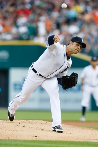Jun 8, 2014; Detroit, MI, USA; Detroit Tigers starting pitcher Anibal Sanchez (19) pitches against the Boston Red Sox at Comerica Park. Mandatory Credit: Rick Osentoski-USA TODAY Sports