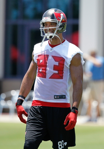 Jun 10, 2014; Tampa Bay, FL, USA;  Tampa Bay Buccaneers wide receiver Vincent Jackson (83) smiles at One Buccaneer Place. Mandatory Credit: Kim Klement-USA TODAY Sports