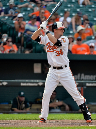 Jun 8, 2014; Baltimore, MD, USA; Baltimore Orioles catcher Caleb Joseph (36) bats in the eighth inning against the Oakland Athletics at Oriole Park at Camden Yards. The Athletics defeated the Orioles 11-1. Mandatory Credit: Joy R. Absalon-USA TODAY Sports