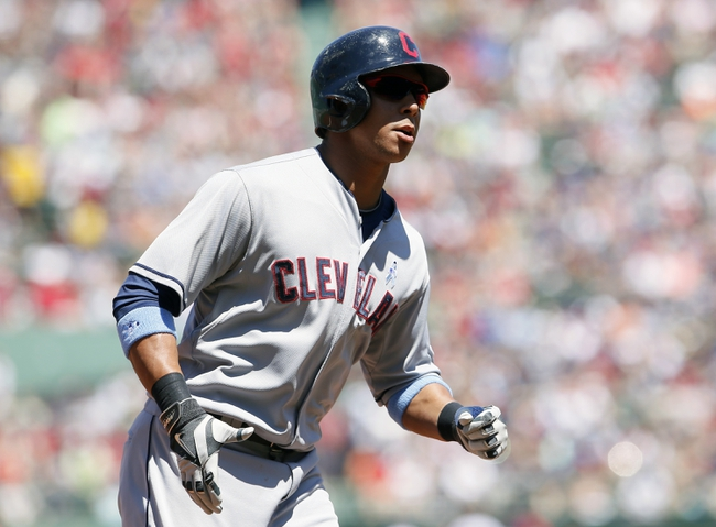 Jun 15, 2014; Boston, MA, USA; Cleveland Indians left fielder Michael Brantley (23) rounds the bases after hitting a home run against the Boston Red Sox in the first inning at Fenway Park. Mandatory Credit: David Butler II-USA TODAY Sports