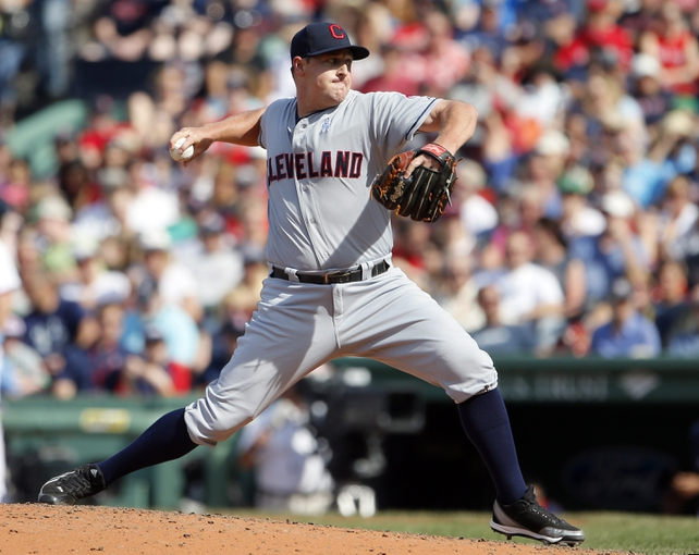 Jun 15, 2014; Boston, MA, USA; Cleveland Indians relief pitcher Bryan Shaw (27) throws a pitch against the Boston Red Sox in the eighth inning at Fenway Park. Mandatory Credit: David Butler II-USA TODAY Sports