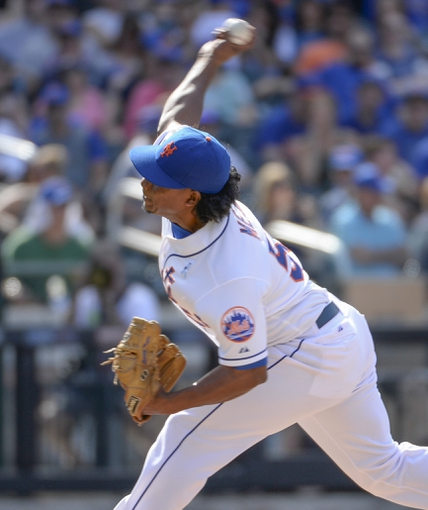Jun 15, 2014; New York, NY, USA; New York Mets relief pitcher Jenrry Mejia (58) throws during the ninth inning against the San Diego Padres at Citi Field. Mandatory Credit: Robert Deutsch-USA TODAY Sports