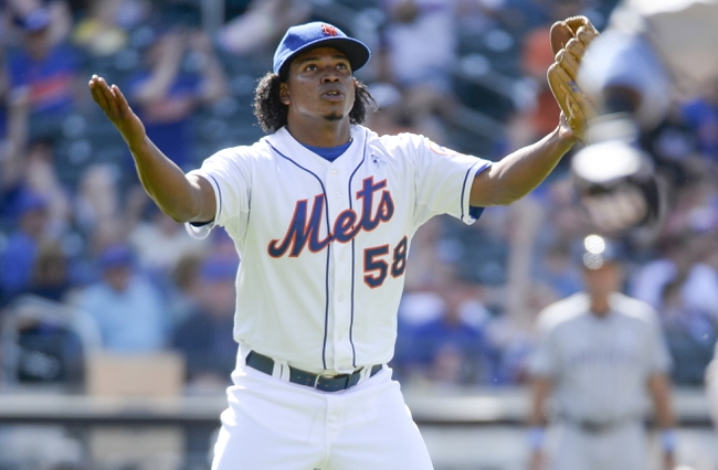 Jun 15, 2014; New York, NY, USA; New York Mets relief pitcher Jenrry Mejia (58) celebrates the win over the San Diego Padres at Citi Field. Mandatory Credit: Robert Deutsch-USA TODAY Sports