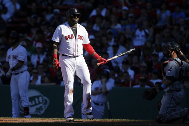 Jun 15, 2014; Boston, MA, USA; Boston Red Sox designated hitter David Ortiz (34) strikes out against the Cleveland Indians in the tenth inning at Fenway Park. Mandatory Credit: David Butler II-USA TODAY Sports