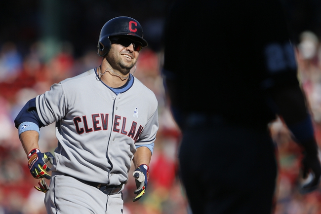 Jun 15, 2014; Boston, MA, USA; Cleveland Indians first baseman Nick Swisher (33) runs the bases after hitting a go ahead home run against the Boston Red Sox in the eleventh inning at Fenway Park. Mandatory Credit: David Butler II-USA TODAY Sports