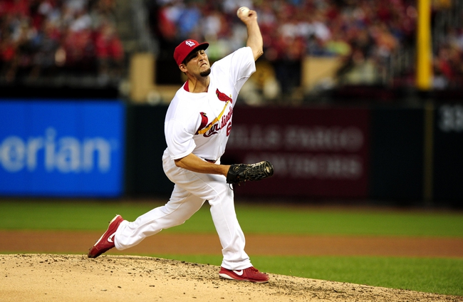Jun 16, 2014; St. Louis, MO, USA; St. Louis Cardinals relief pitcher Nick Greenwood (62) throws to a New York Mets batter in his Major League debut during the fifth inning at Busch Stadium. Mandatory Credit: Jeff Curry-USA TODAY Sports