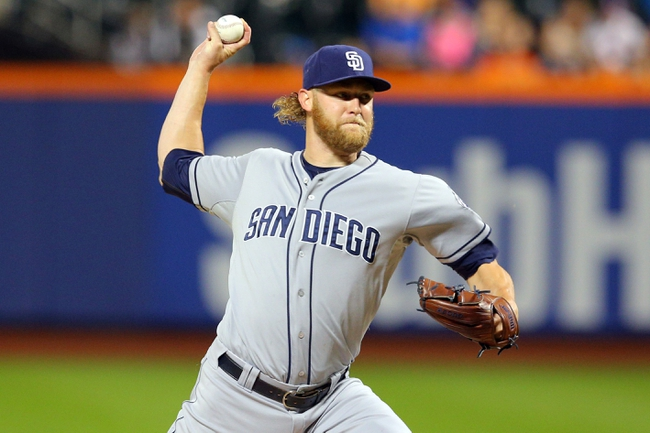 Jun 13, 2014; New York, NY, USA; San Diego Padres starting pitcher Andrew Cashner (34) pitches against the New York Mets during the first inning of a game at Citi Field. Mandatory Credit: Brad Penner-USA TODAY Sports