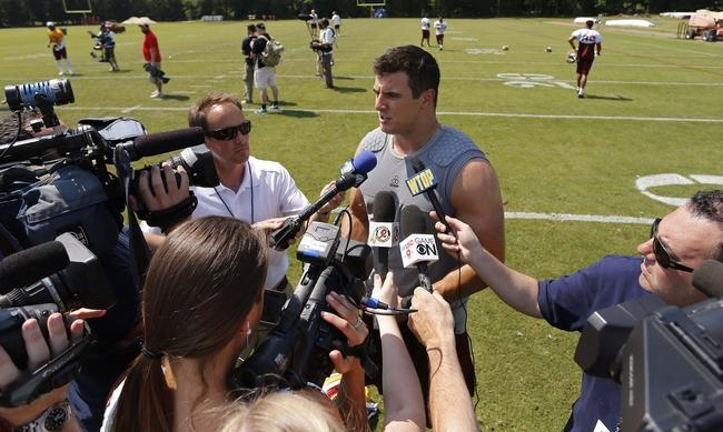Jun 17, 2014; Ashburn, VA, USA; Washington Redskins outside linebacker Ryan Kerrigan speaks with the media after a minicamp session at Redskins Park. Mandatory Credit: Geoff Burke-USA TODAY Sports
