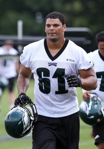 Jun 17, 2014; Philadelphia, PA, USA; Defensive end Francis Mays (61) during mini camp at the Philadelphia Eagles NovaCare Complex. Mandatory Credit: Bill Streicher-USA TODAY Sports