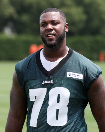 Jun 17, 2014; Philadelphia, PA, USA; Offensive guard Donald Hawkins (78) during mini camp at the Philadelphia Eagles NovaCare Complex. Mandatory Credit: Bill Streicher-USA TODAY Sports