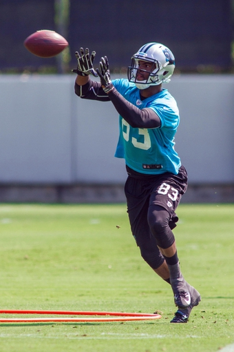 Jun 17, 2014; Charlotte, NC, USA; Carolina Panthers receiver Marcus Lucas catches a pass during the minicamp held at the Carolina Panthers practice facility. Mandatory Credit: Jeremy Brevard-USA TODAY Sports