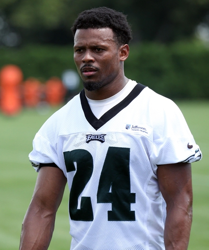 Jun 17, 2014; Philadelphia, PA, USA; Philadelphia Eagles cornerback Bradley Fletcher (24) during mini camp at the Philadelphia Eagles NovaCare Complex. Mandatory Credit: Bill Streicher-USA TODAY Sports