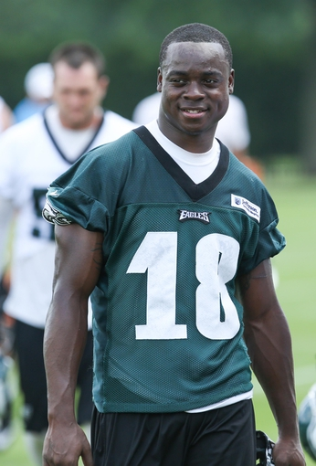 Jun 17, 2014; Philadelphia, PA, USA; Philadelphia Eagles wide receiver Jeremy Maclin (18) during mini camp at the Philadelphia Eagles NovaCare Complex. Mandatory Credit: Bill Streicher-USA TODAY Sports