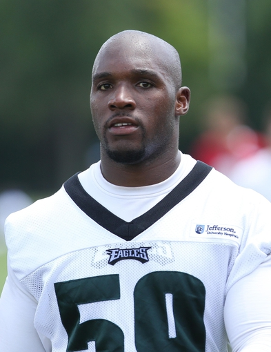 Jun 17, 2014; Philadelphia, PA, USA; Philadelphia Eagles inside linebacker DeMeco Ryans (59) uring mini camp at the Philadelphia Eagles NovaCare Complex. Mandatory Credit: Bill Streicher-USA TODAY Sports