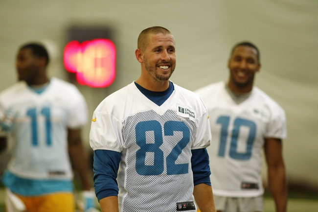 Jun 17, 2014; Davie, FL, USA; Miami Dolphins wide receiver Brian Hartline (82) during mini-camp at Miami Dolphins Training Facility.  Mandatory Credit: Robert Mayer-USA TODAY Sports