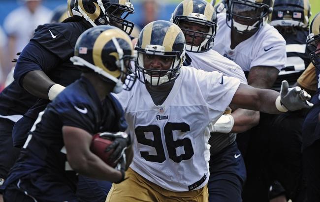 Jun 17, 2014; St. Louis, MO, USA; St. Louis Rams defensive end Michael Sam (96) runs through drills during minicamp at Rams Park. Mandatory Credit: Jeff Curry-USA TODAY Sports