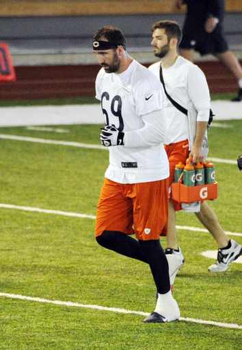 Jun 17, 2014; Lake Forest, IL, USA;  Chicago Bears defensive end  Jared Allen  (69) during Chicago Bears minicamp at Halas Hall. Mandatory Credit: David Banks-USA TODAY Sports
