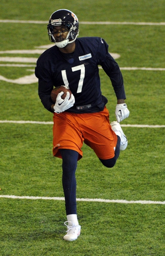 Jun 17, 2014; Lake Forest, IL, USA; Chicago Bears wide receiver Alshon Jeffery (17) during Chicago Bears minicamp at Halas Hall. Mandatory Credit: David Banks-USA TODAY Sports