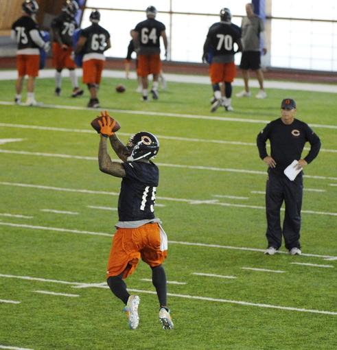Jun 17, 2014; Lake Forest, IL, USA;  Chicago Bears wide receiver Brandon Marshall (15) during Chicago Bears minicamp at Halas Hall. Mandatory Credit: David Banks-USA TODAY Sports