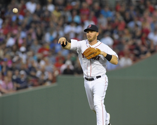 Jun 17, 2014; Boston, MA, USA; Boston Red Sox shortstop Stephen Drew (7) makes a throw to first base for an out during the third inning against the Minnesota Twins at Fenway Park. Mandatory Credit: Bob DeChiara-USA TODAY Sports
