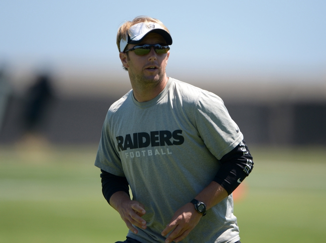 Jun 17, 2014; Alameda, CA, USA; Oakland Raiders defensive coordinator Jason Tarver at minicamp at Raiders Practice Facility. Mandatory Credit: Kirby Lee-USA TODAY Sports