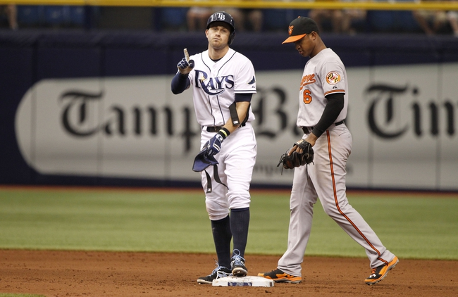 Jun 18, 2014; St. Petersburg, FL, USA; Tampa Bay Rays third baseman Evan Longoria (3) reacts after he doubles during the sixth inning B| at Tropicana Field. Mandatory Credit: Kim Klement-USA TODAY Sports
