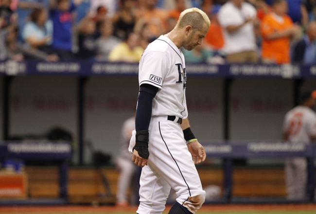 Jun 18, 2014; St. Petersburg, FL, USA; Tampa Bay Rays third baseman Evan Longoria (3) reacts after he was out during the sixth inning against the Baltimore Orioles at Tropicana Field. Mandatory Credit: Kim Klement-USA TODAY Sports