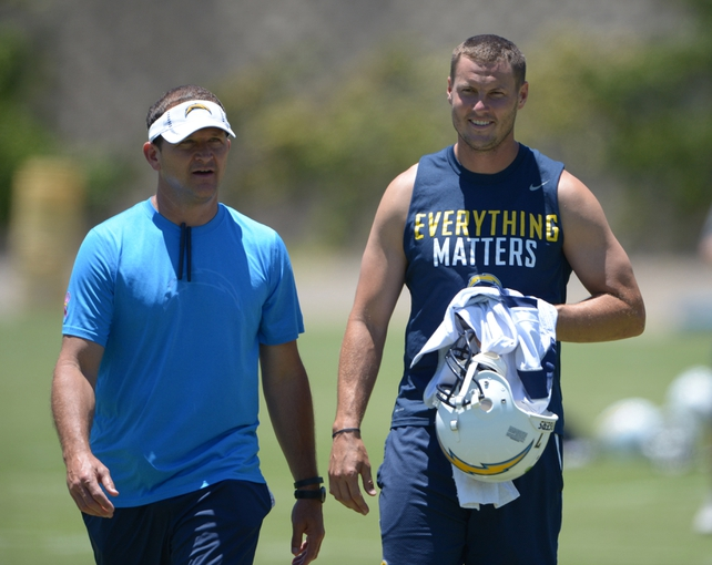 Jun 18, 2014; San Diego, CA, USA; San Diego Chargers quarterback Philip Rivers (17) and linebackers coach Joe Barry at minicamp at Chargers Park. Mandatory Credit: Kirby Lee-USA TODAY Sports